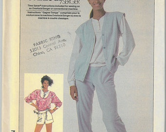 1980's Vintage Sewing Pattern - Vest, Shirt, Pants and Shorts Simplicity Patterns # 7851