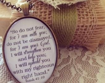 Isaiah 41:10 Bible Verse Pendant Necklace