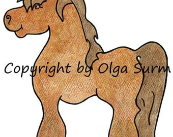 Made to order Original watercolor Shire pony CommPony style.