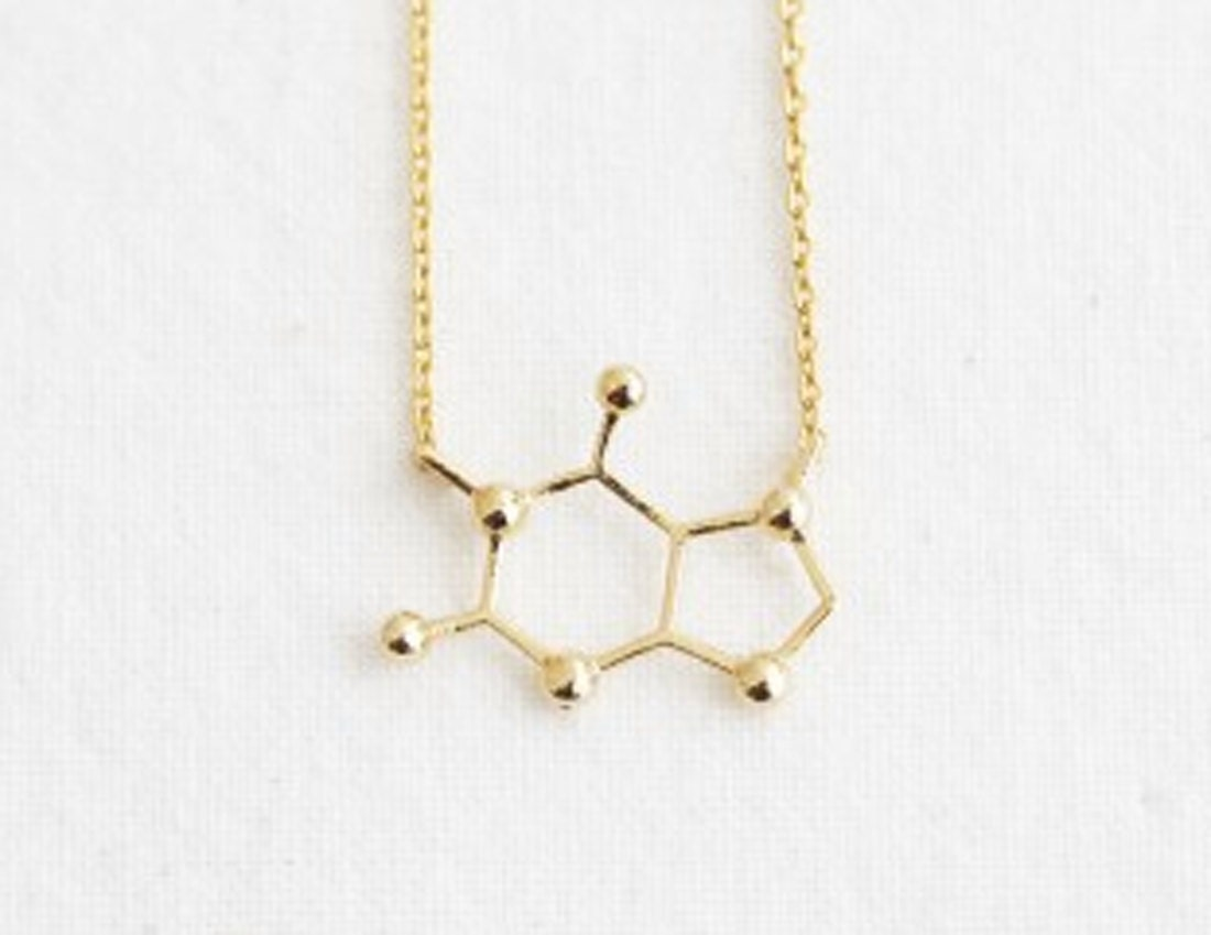 caffeine molecule structure necklace in gold by nayring on
