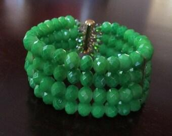 Handmade Green stacked bracelet