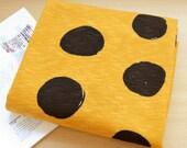 French Gauze Terry Knit Fabrc Big Polka Dot Mustard By The Yard