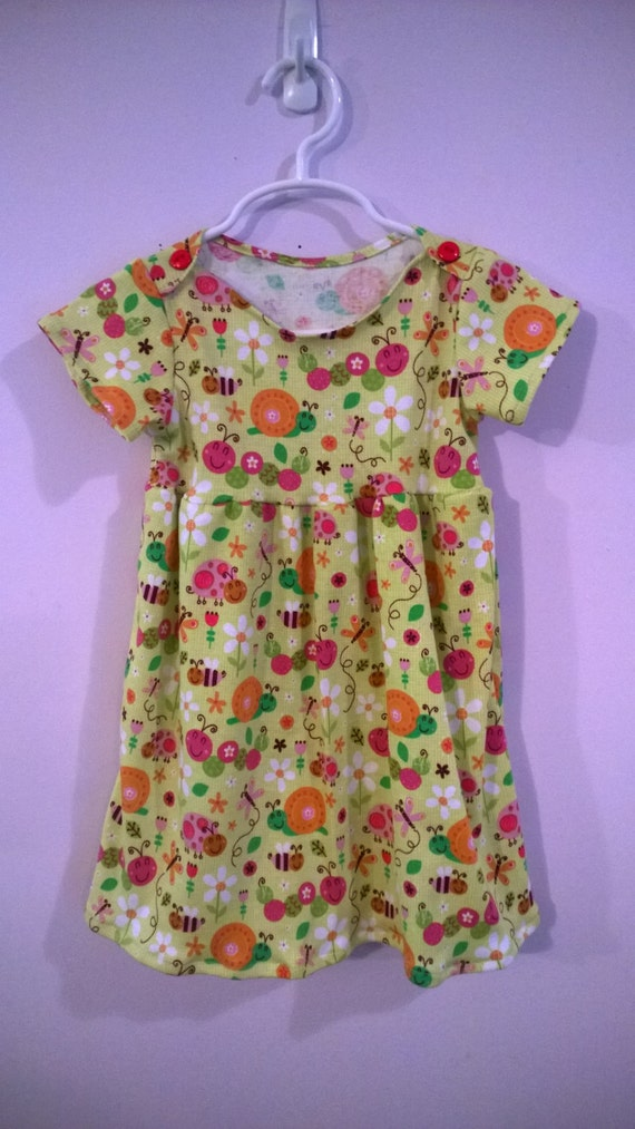 Happy Spring Time Dress, Green Cotton Dress ((18 Months))