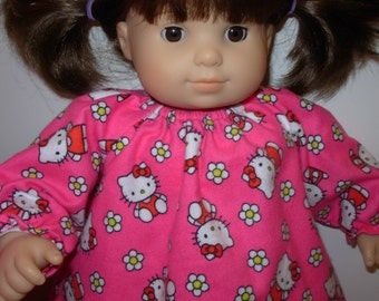 "15 inch or 18 inch ""HELLO KITTY"" Pink Nightgown- Fits 18"" & 15"" AG American Dolls,Bitty Baby/Twin Doll! Ready for Bed! Hello Kitty Nightgown"