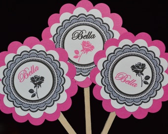 Black Lace Cupcake Toppers - Rose Cupcake Toppers - Pink and Black Lace Cupcake Toppers - Set of 12