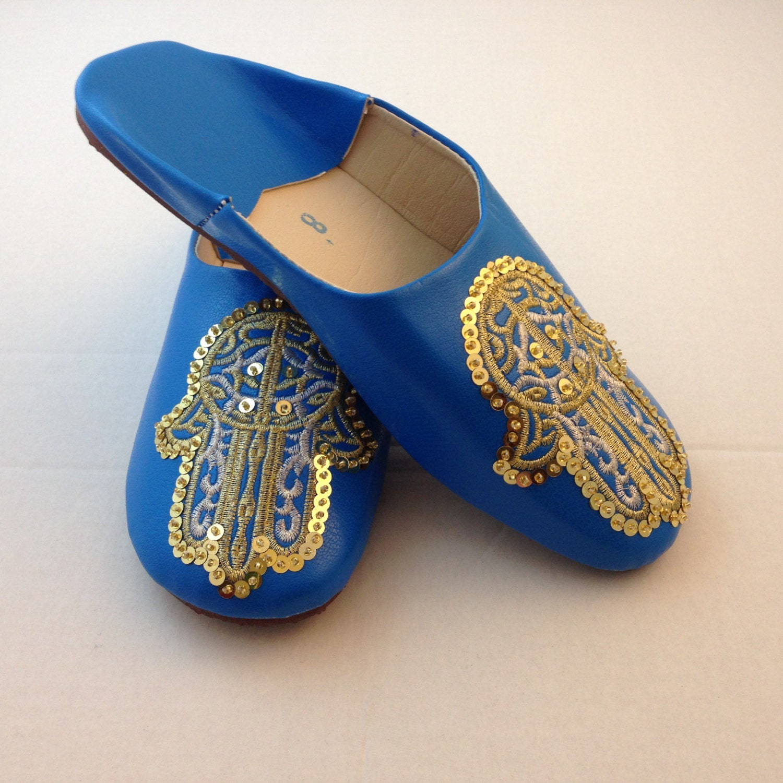 Moroccan SlippersHamsa Moroccan BaboucheSequin Slippers