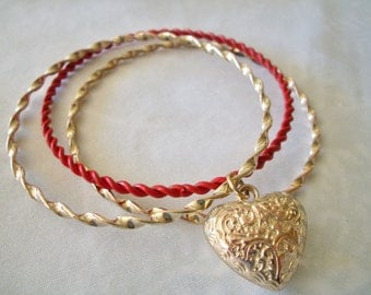 Set of 3 Vintage Bangles with Heart Charm Vintage