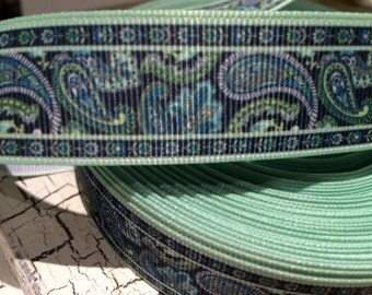 """1"""" Navy and Green Preppy PAISLEY Grosgrain sold by the yard"""
