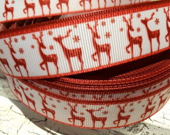 "3 yards 7/8"" CHRISTMAS Vintage Red Reindeer grosgrain ribbon"