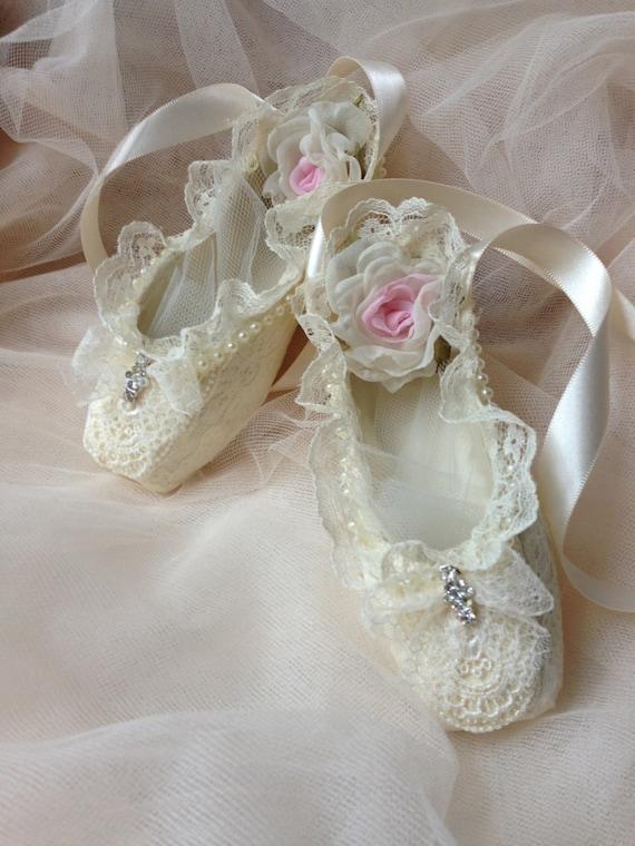 Paper mache Ballet shoes home decor girl room decor ivory