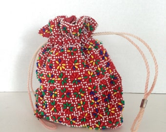 Beaded Drawstring Pouch- 1970s Mexican