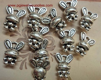 Bunny Bunnies pewter silvertone charms 12 pcs per lot Last of stock l