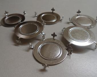 38mm round silvertone dapt settings turtle type prongs fleur des lis design 6 pcs lot l
