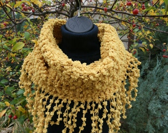 Scarf Cowl Neck Warmer Mustard Yellow Gold Soft Warm Fringed Snood Cowl Scarf