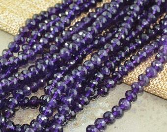 Gemstone Beads,Semi Precious Beads,Amethsyt Beads,Cut Amethyst,Faceted Amethyst Beads,7mmx4or5mm,1mm Hole,Rondelle,Dark Purple,See Quanties