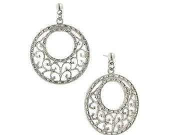 Vintage Estate Filigree Round Drop Earrings Silk Road Jewelry