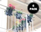 Balcony hanging flowerpot planter, garden decor, Planter Container, Planter bag, vase   6 pack Double pockets  all colors  6 patterns  SALE