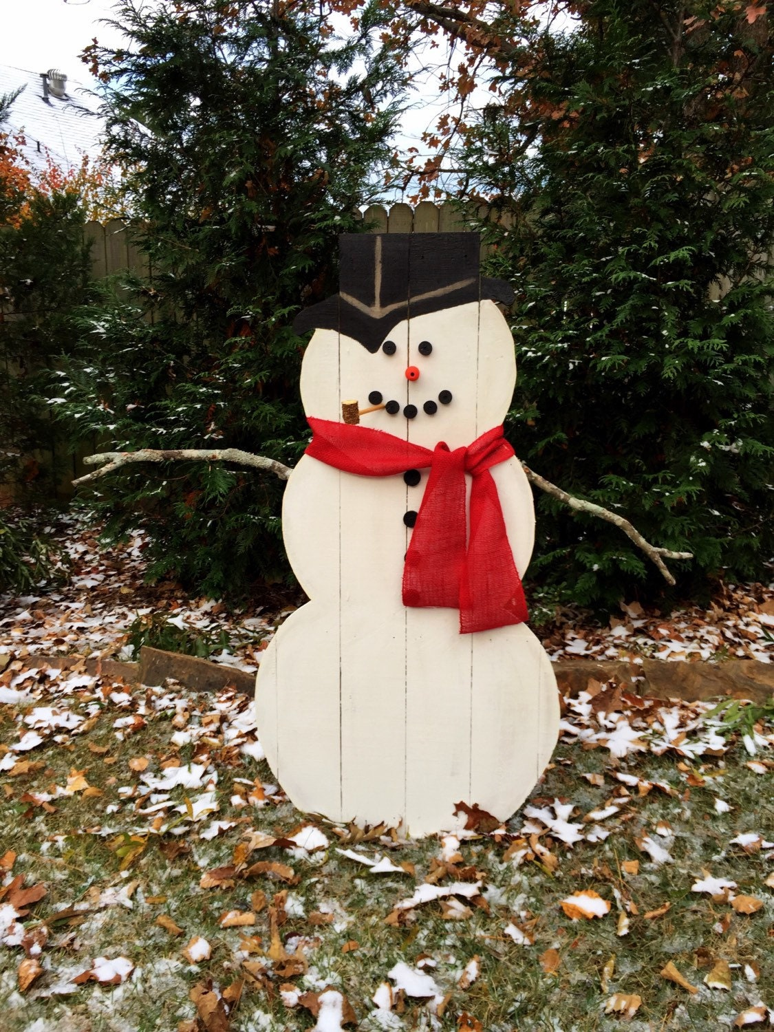 Wooden snowman outdoor or indoor snowman for Large outdoor christmas signs