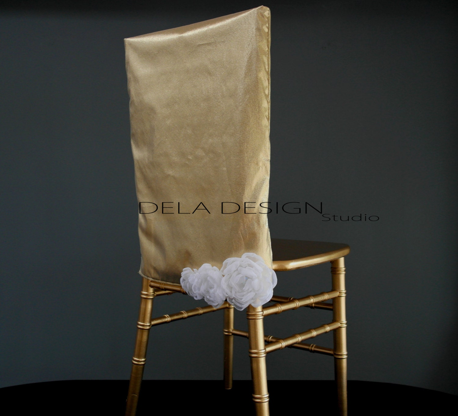 New Metallic Sheer Gold Silver Chair Cover By DelaDesignStudio