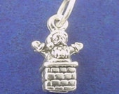 SANTA In Chimney Charm .925 Sterling Silver Christmas Small Miniature - lp2171