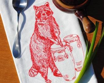 Cloth Tea Towel - Red Raccoon Towel Design - Screen Printed Cotton - Flour Sack Material - Perfect Towel for Dishes - Cute Gift