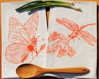 Cotton Kitchen Towel Set - Screen Printed Organic Cotton - Flour Sack - Orange Butterfly Dragonfly Tea Towels - Perfect Towels for Dishes