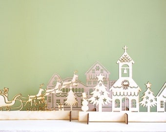 Wood Christmas Village Scene, Laser Cut Rustic, Christmas Decoration, Mantel Piece