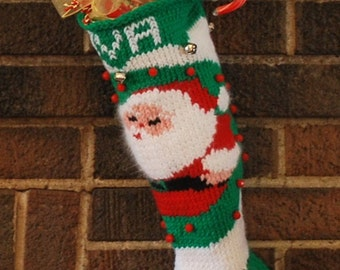 Knitted and Embroidered Christmas Stocking with Santa
