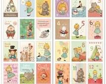 1 Sheet Retro Thematic Brochure Stamp Sticker Set Deco Sticker-Pretty Girl Stamp Sticker - Scrapbooking Packaging Diary Deco Home Decor