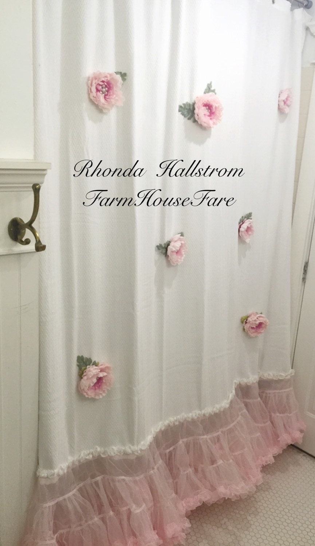 Custom altered shower curtain long pink flower tulle shabby - Shabby chic shower curtains ...