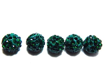 5 Green Pave Beads, 10mm Forest Green Pave, Polymer Clay Pave Bead, Beads, Shamballa Beads, 10mm Green Beads, Green Disco Ball Beads, T-103C