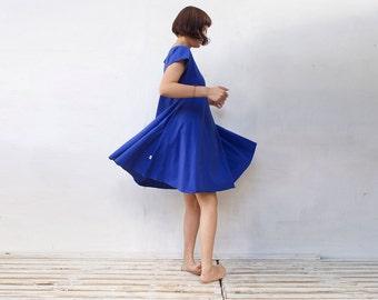 Women's Circle Dress Blue Dress Women's Dress  With Pockets Women's Clothing Organic cotton FREE SHIPPING international Jersey Cotton Dress