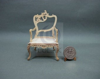 "Unfinished 1""Scale Miniature Fancy Arm Chair For Dollhouse [Left]"