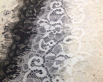 2.99USD FOR 3m*8cm Off white Chantilly Eyelash Lace Trim, Chantilly Lace Fabric, 3.14 inches Wide for Veil, Dress, Costume, Craft Making