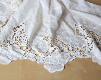 skirt cotton lace fabric ,White  cotton embroidery curtain fabric ,