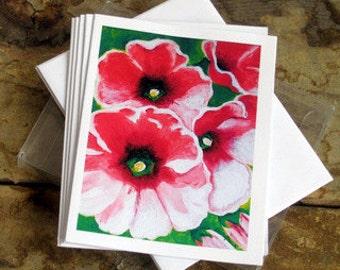 "Violet Dauk Fine Art Note Cards - Pink Hollyhocks, set of 5 blank (4.25"" x 5.5"") cards and envelopes"