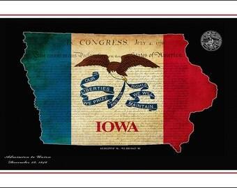 IOWA Map, Map of Iowa, Des Moines, Cedar Rapids, Waterloo,  State Map, State Flag, Flag Print, Flag Art