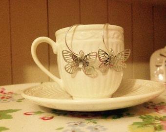 NEW Silver 3D Butterfly Hoop Earrings
