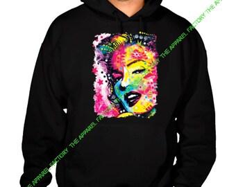 Neon Marilyn Monroe Painting Black Hoodie All size S-4XL