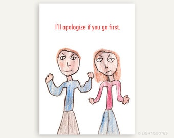 Humorous Apology Greeting Card for Saying I'm Sorry, Instant Download, 5x7