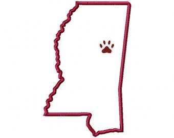State of Mississippi applique with paw print embroidery design download - 5x7 hoop size