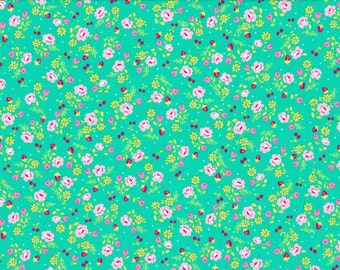 Lighthearted by Ayumi Takahashi for Kokka - Pretty Floral in Teal