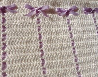 White Crocheted Baby Afghan with Purple Ribbons