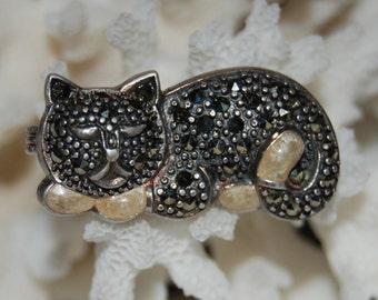 Vintage Sterling Silver Sleeping Kitty Cat Feline Marcasite and Pearl Enamel Brooch