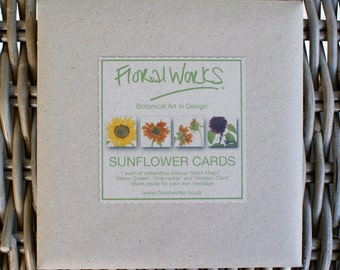 Sunflower Cards 4x Pack