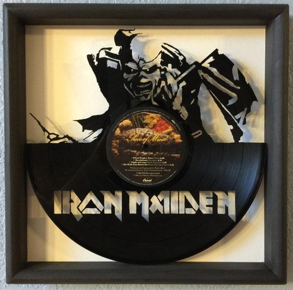 Iron Maiden Quot Piece Of Mind Quot Cut Framed Vinyl Lp Record Art