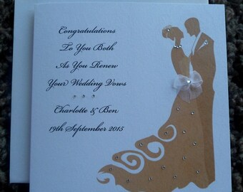 "Handmade Personalised 6"" Square Luxury Wedding Vow Renewal Card"