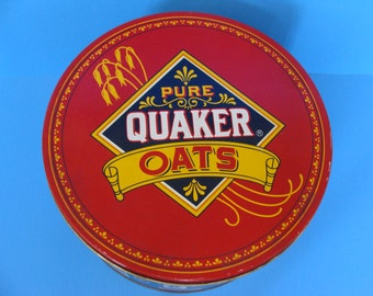 Quaker Oats Tin Vintage tin Collectible Oatmeal Cookie tin Metal container Collectible box Vintage box Limited Edition tin FogartyTreasures
