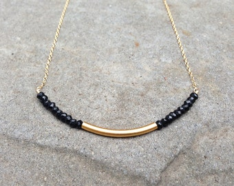 Black Spinel and Gold Vermeil Matte Curved Bar Necklace on a 14K Gold Filled or Sterling Silver Chain - 18 inches