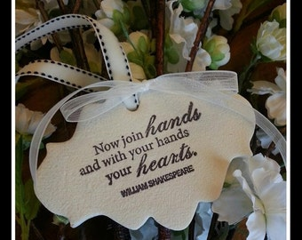 Wedding Clay Gift Tag - HANDS & HEARTS